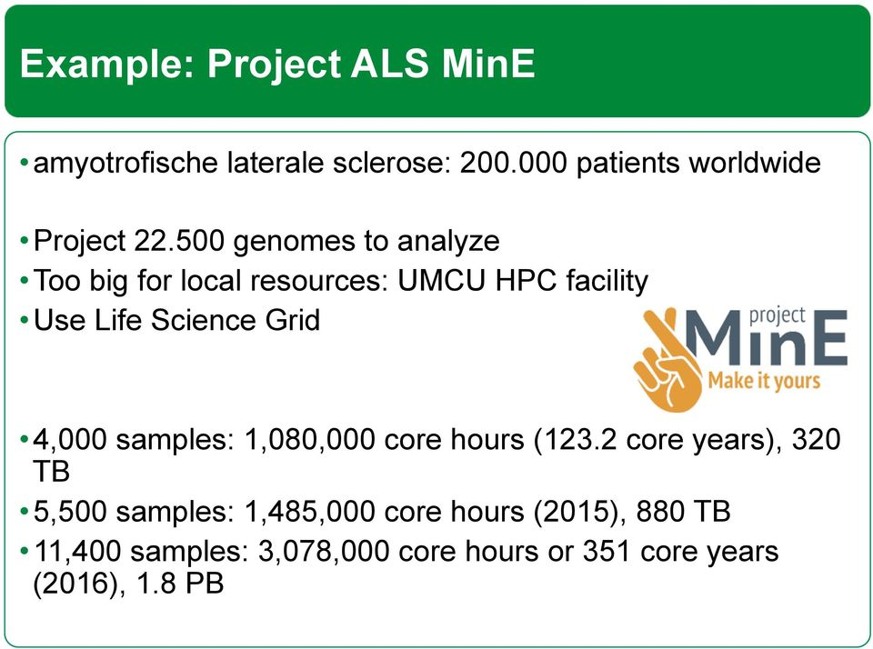 500 genomes to analyze Too big for local resources: UMCU HPC facility Use Life Science Grid