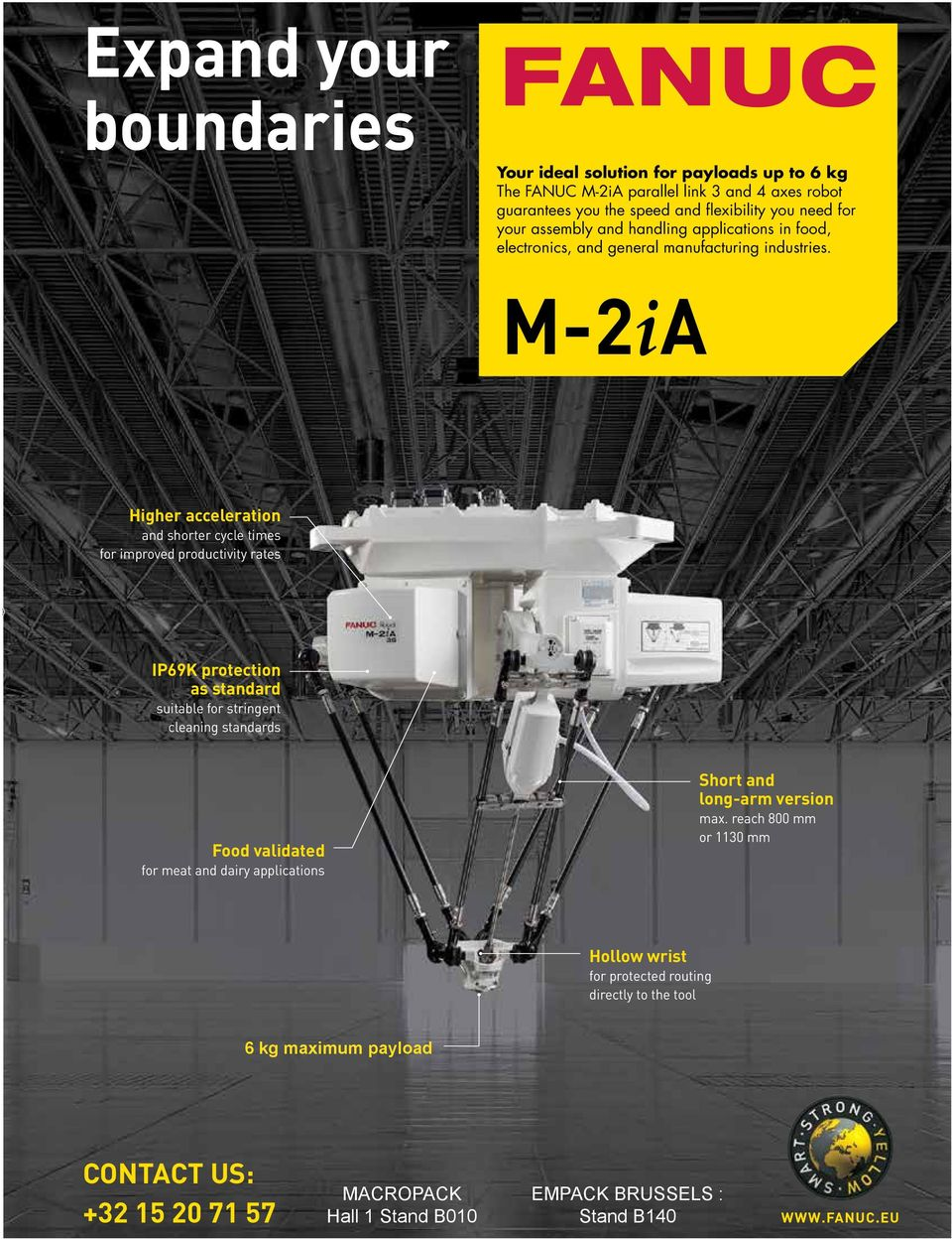 M-2ia Higher acceleration and shorter cycle times for improved productivity rates IP69K protection as standard suitable for stringent cleaning standards food validated for