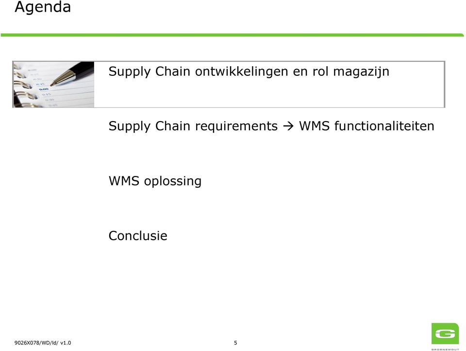 requirements WMS functionaliteiten