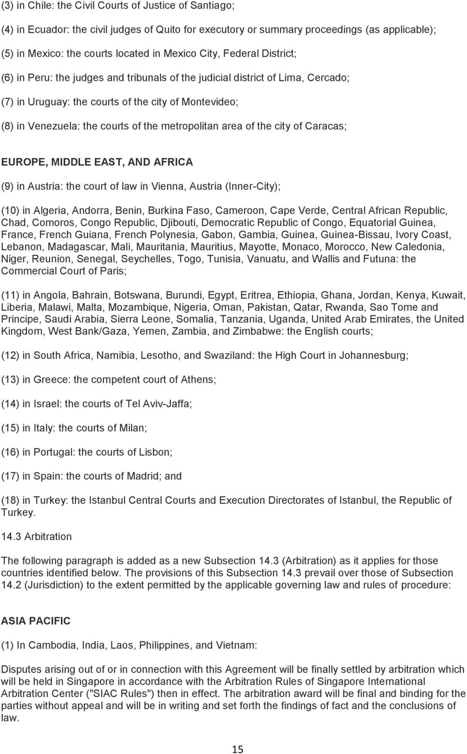 metropolitan area of the city of Caracas; EUROPE, MIDDLE EAST, AND AFRICA (9) in Austria: the court of law in Vienna, Austria (Inner-City); (10) in Algeria, Andorra, Benin, Burkina Faso, Cameroon,