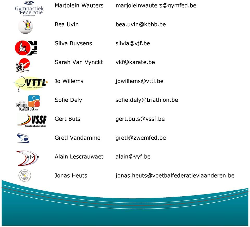 be Jo Willems jowillems@vttl.be Sofie Dely sofie.dely@triathlon.be Gert Buts gert.