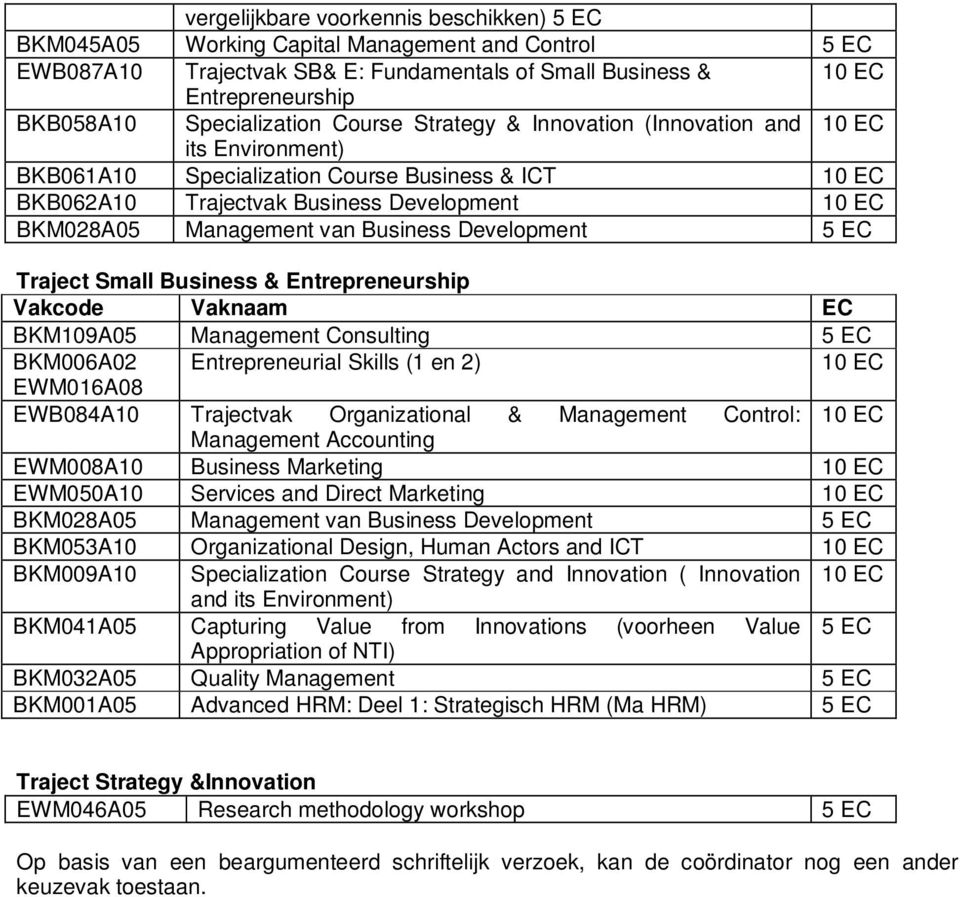 Management van Business Development 5 EC Traject Small Business & Entrepreneurship Vakcode Vaknaam EC BKM109A05 Management Consulting 5 EC BKM006A02 Entrepreneurial Skills (1 en 2) 10 EC EWM016A08