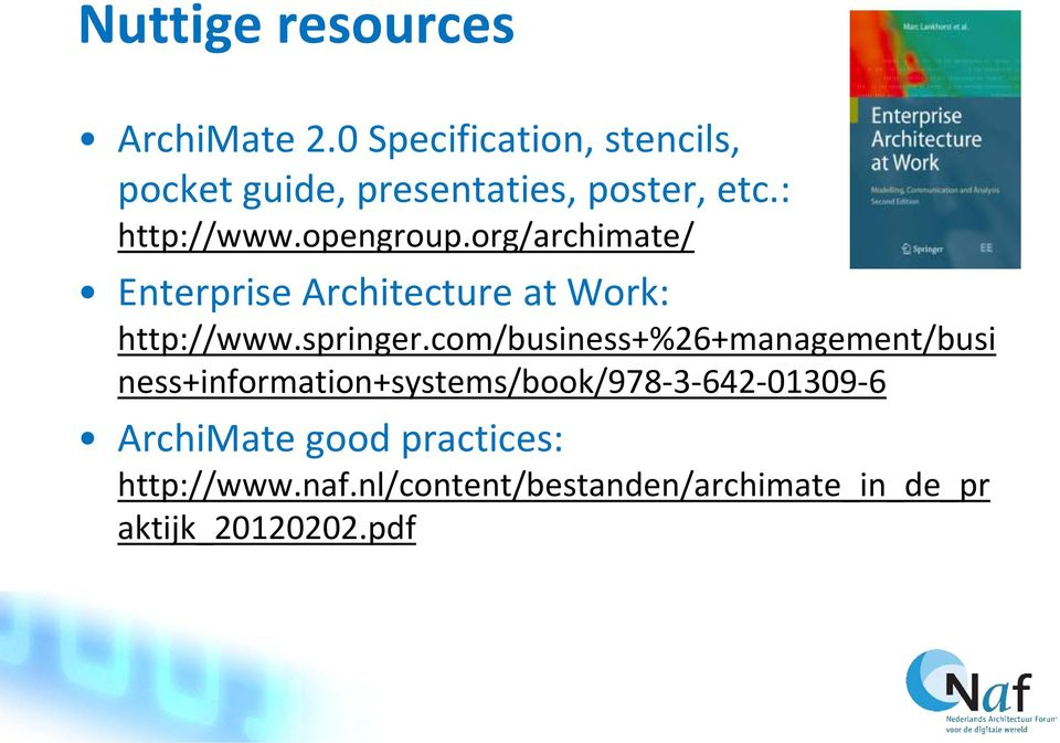 org/archimate/ Enterprise Architecture at Work: http://www.springer.