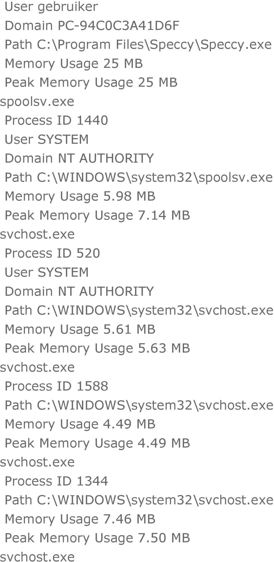 exe Process ID 520 Path C:\WINDOWS\system32\svchost.exe Memory Usage 5.61 MB Peak Memory Usage 5.63 MB svchost.