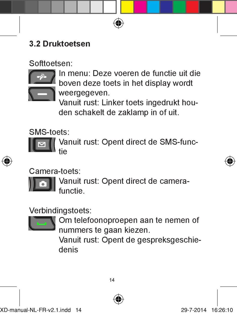 SMS-toets: Vanuit rust: Opent direct de SMS-functie Camera-toets: Vanuit rust: Opent direct de camerafunctie.