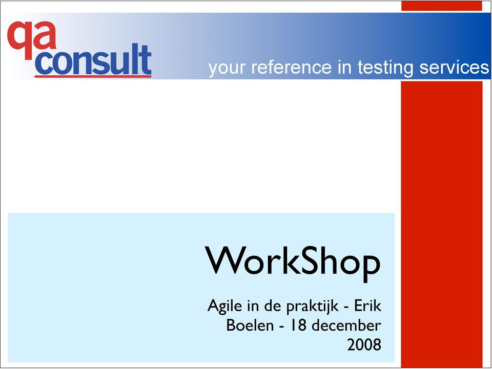 WorkShop Agile in de