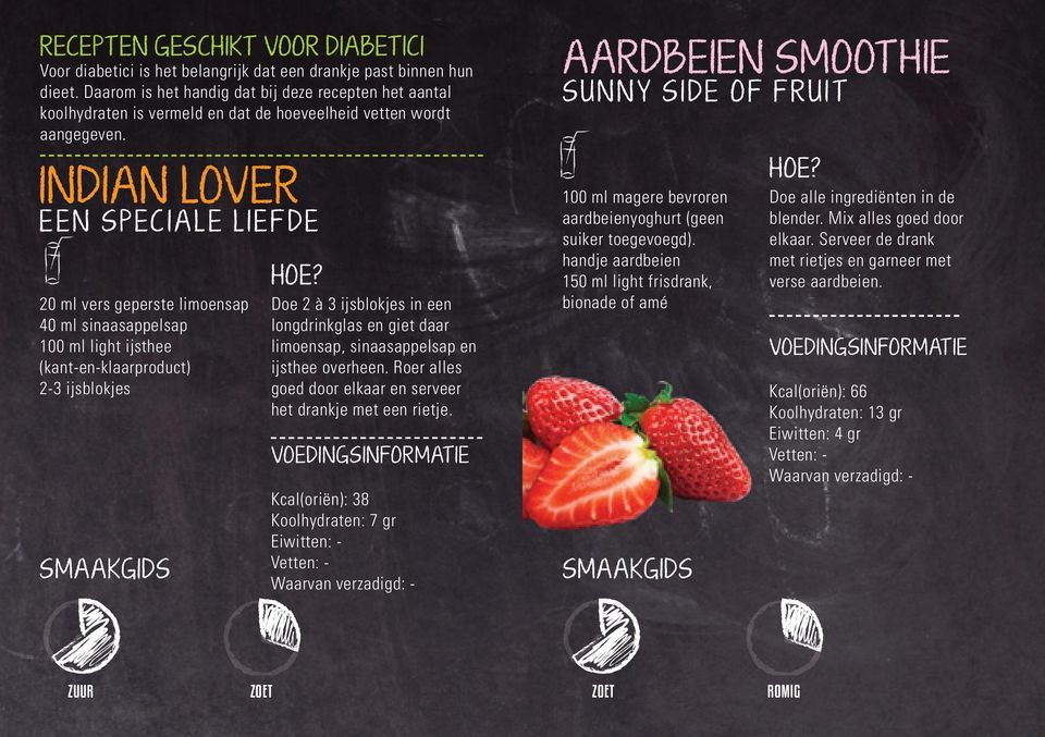 AARDBEIEN SMOOTHIE SUNNY SIDE OF FRUIT INDIAN LOVER EEN SPECIALE LIEFDE 20 ml vers geperste limoensap 40 ml sinaasappelsap 100 ml light ijsthee (kant-en-klaarproduct) 2-3 ijsblokjes Doe 2 à 3