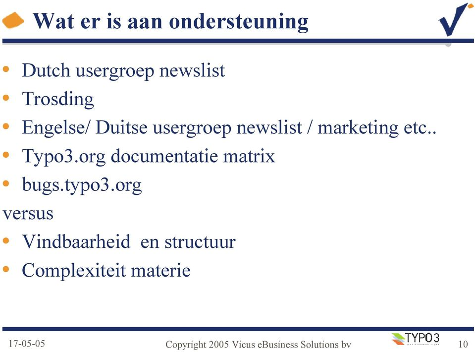 org documentatie matrix bugs.typo3.