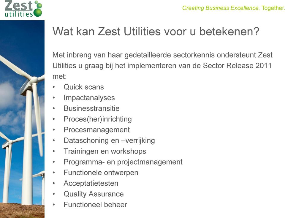 van de Sector Release 2011 met: Quick scans Impactanalyses Businesstransitie Proces(her)inrichting