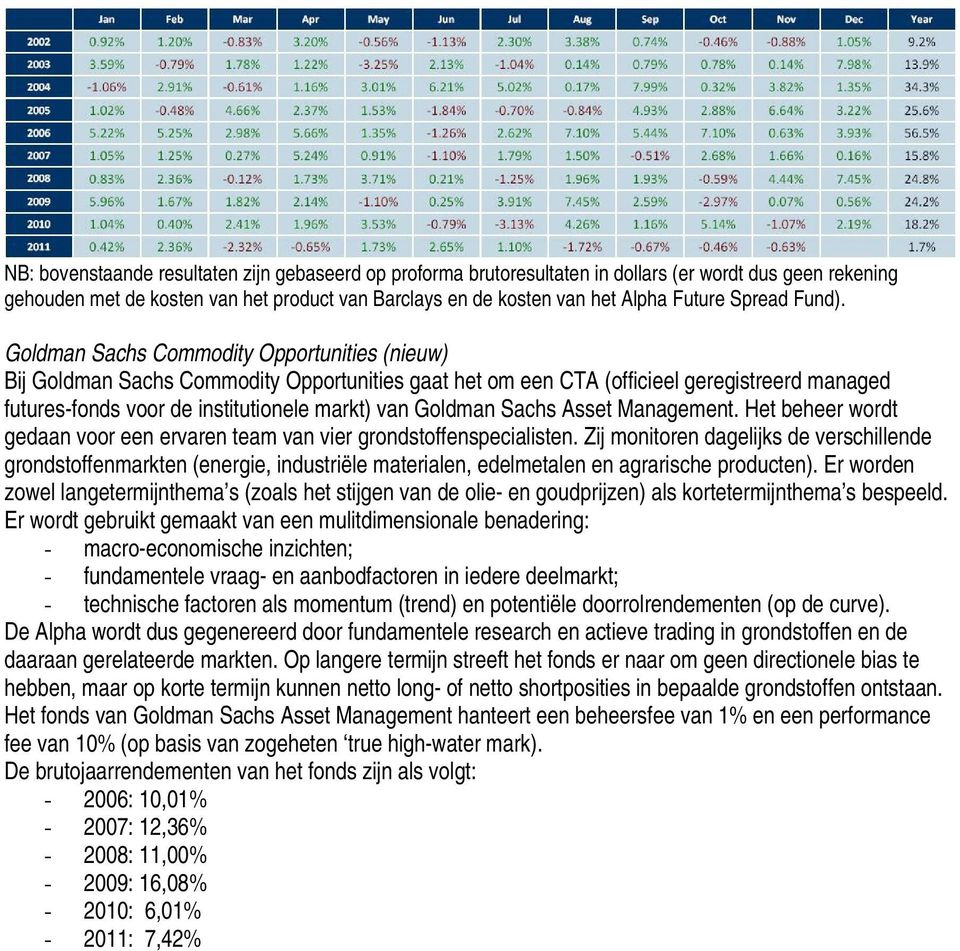 Goldman Sachs Commodity Opportunities (nieuw) Bij Goldman Sachs Commodity Opportunities gaat het om een CTA (officieel geregistreerd managed futures-fonds voor de institutionele markt) van Goldman