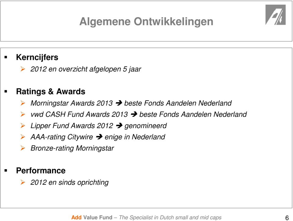 2013 beste Fonds Aandelen Nederland Lipper Fund Awards 2012 genomineerd AAA-rating