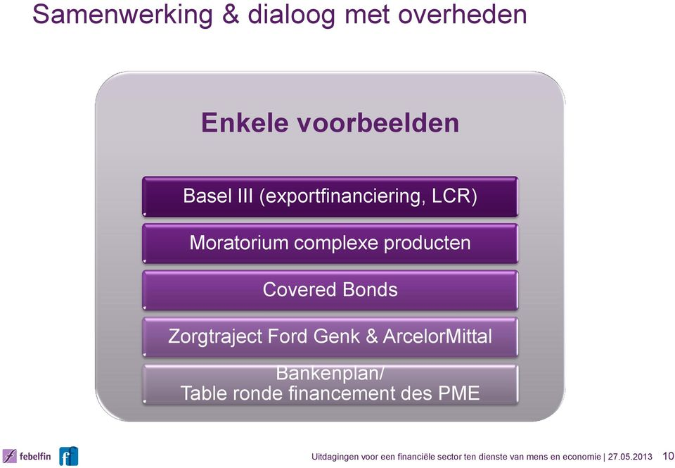Zorgtraject Ford Genk & ArcelorMittal Bankenplan/ Table ronde financement