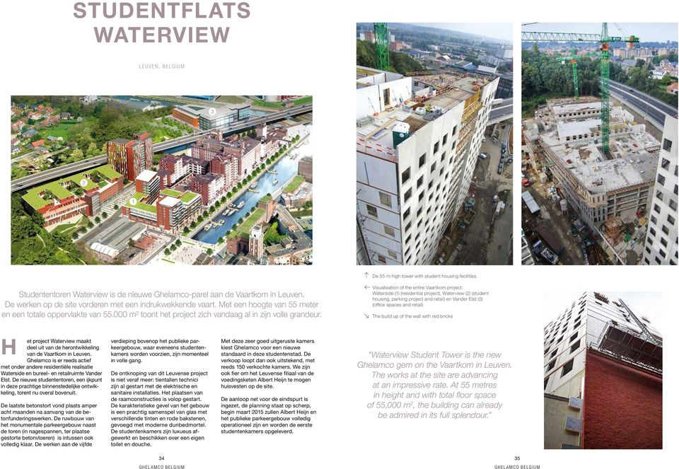 Visualisation of the entire Vaartkom project: Waterside (1) (residential project), Waterview (2) (student housing, parking project and retail) en Vander Elst (3) (office spaces and retail) The build