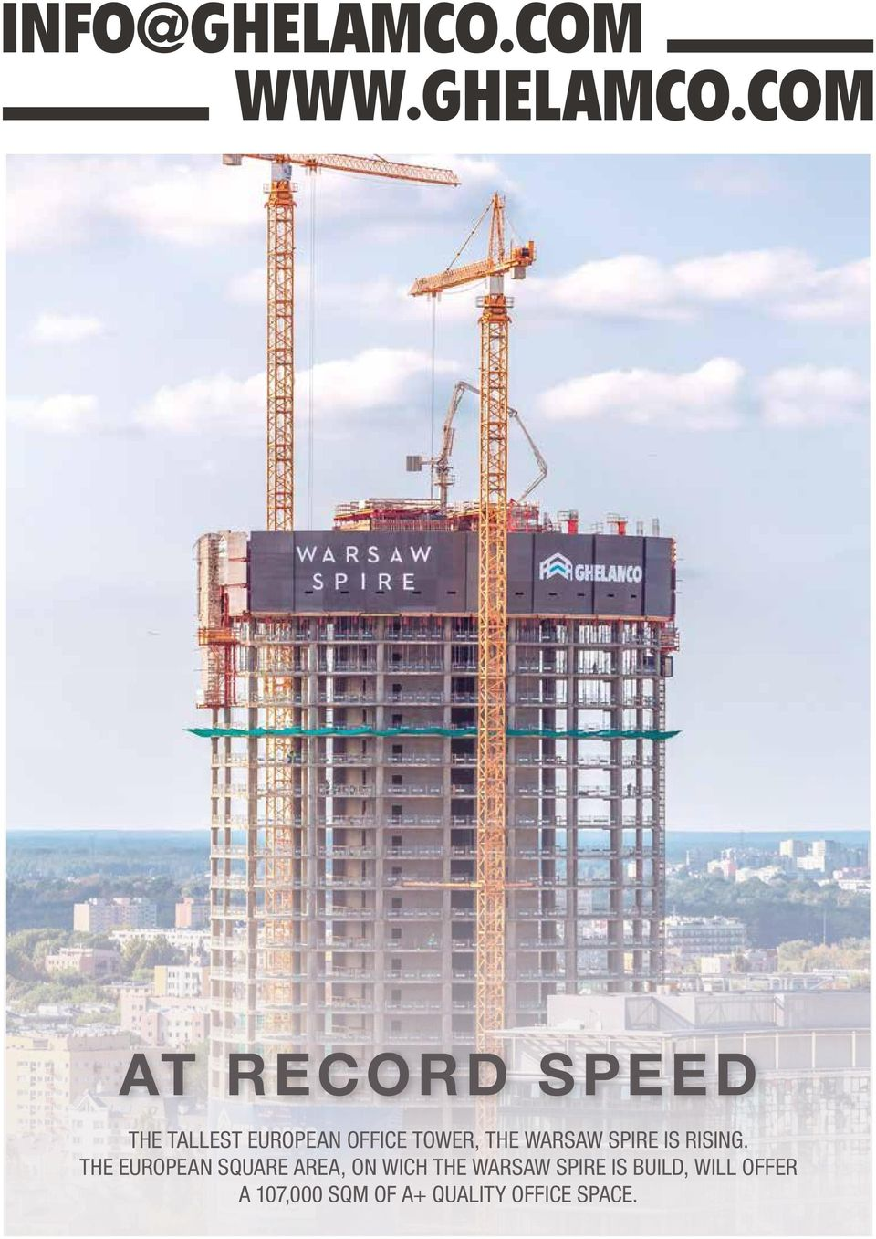 COM AT RECORD SPEED THE TALLEST EUROPEAN OFFICE TOWER,