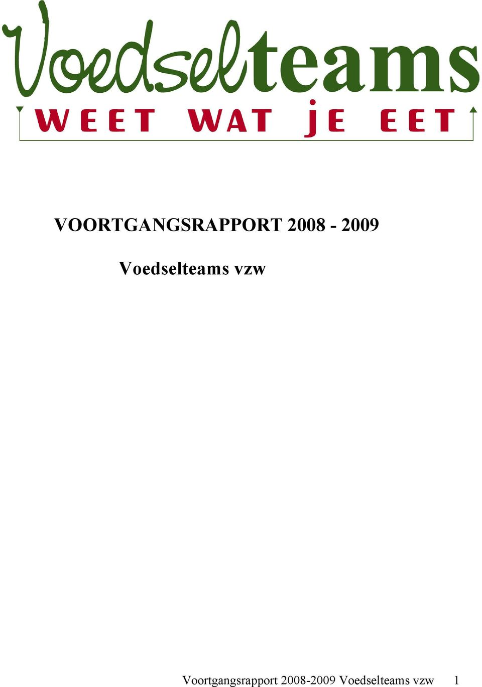 vzw Voortgangsrapport