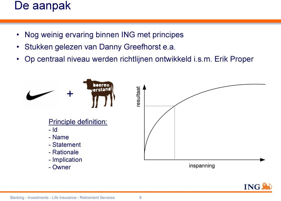 Erik Proper + resultaat Principle definition: - Id - Name - Statement - Rationale