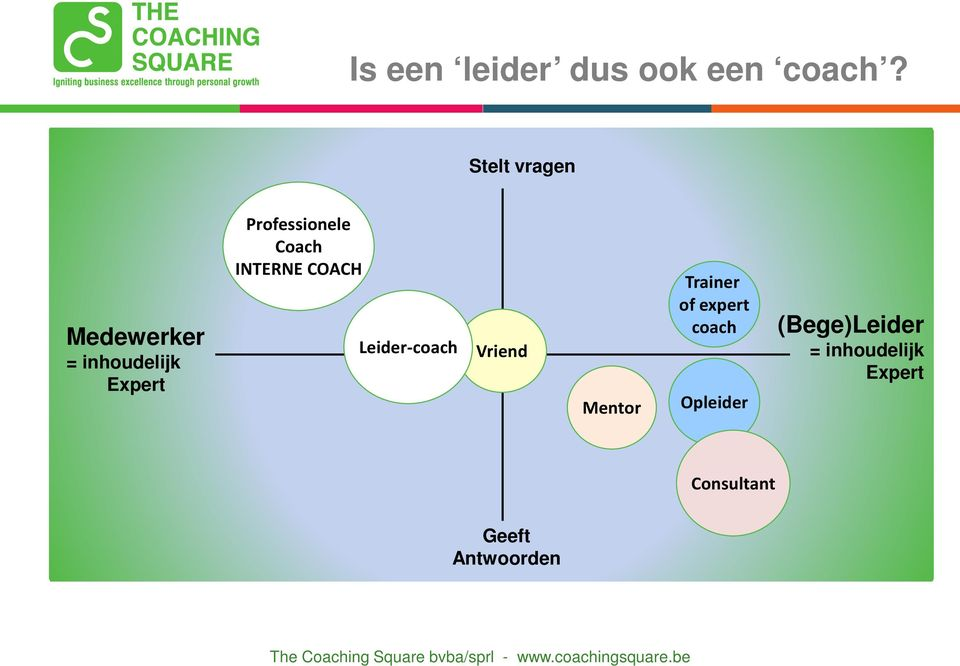 Coach INTERNE COACH Leider-coach Vriend Mentor Trainer of