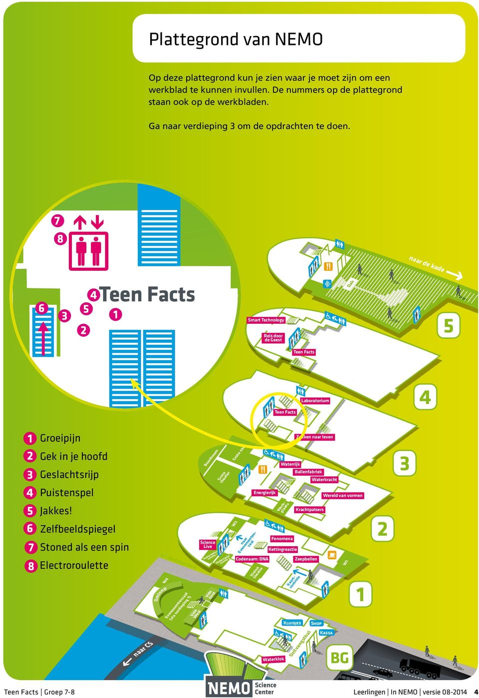 naar de kade Teen Facts Foyer (beperkt open) Dak Smart Technology Reis door de Geest 5 Teen Facts Teen Facts Laboratorium 4 1 Groeipijn Zoeken naar leven 2 3 Gek in je hoofd Geslachtsrijp Boardroom