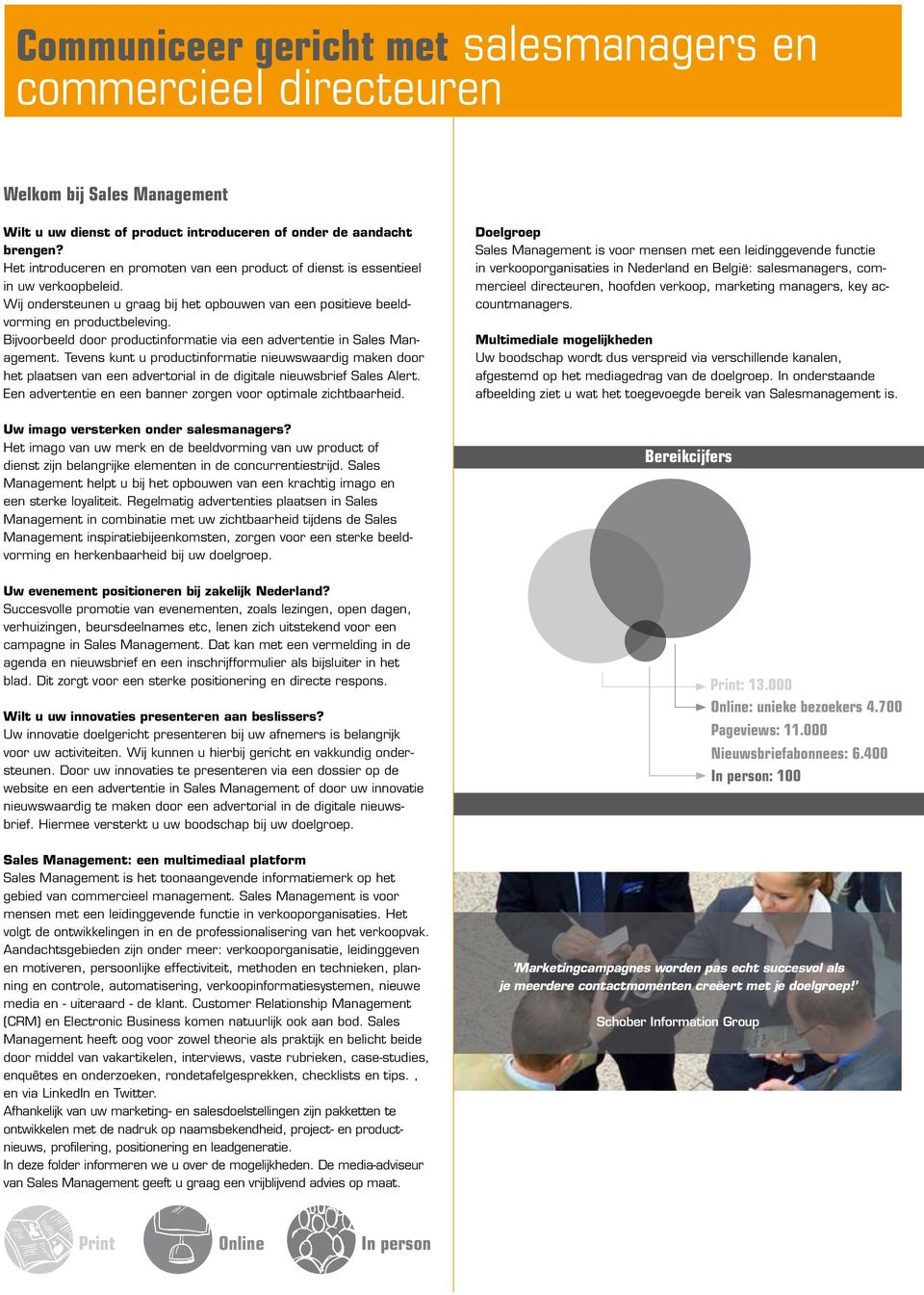 Bijvoorbeeld door productinformatie via een advertentie in Sales Management.
