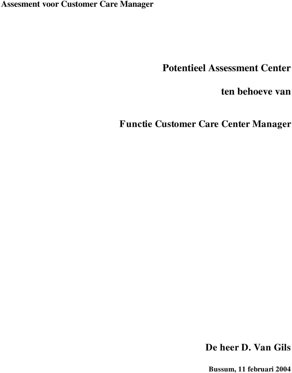 van Functie Customer Care Center Manager