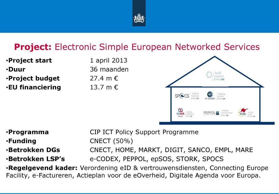 7 m Programma Funding CNECT (50%) Betrokken DGs Betrokken LSP s CIP ICT Policy Support Programme CNECT, HOME, MARKT,