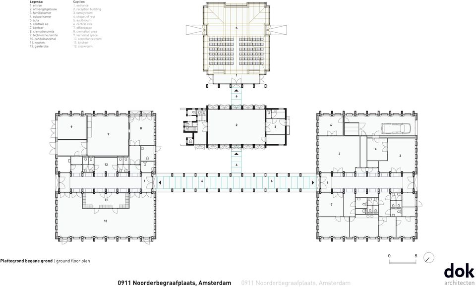 reception building 3. family room 4. chapel of rest 5. auditorium 6. central axis 7. officespace 8. cremation area 9.