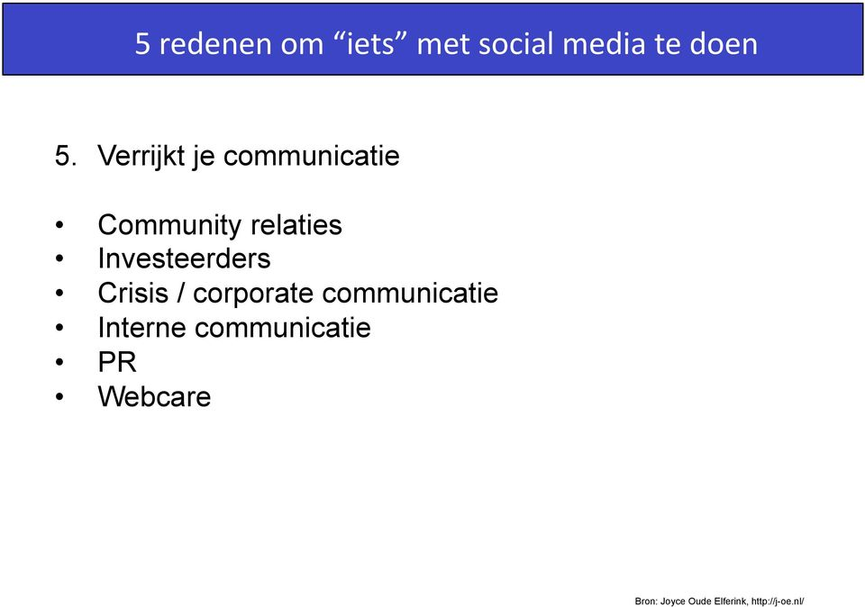 Investeerders Crisis / corporate communicatie