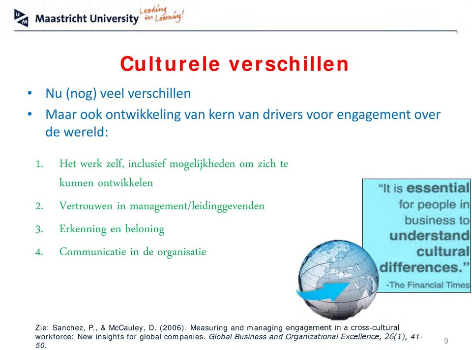 Erkenning en beloning 4. Communicatie in de organisatie Zie: Sanchez, P., & McCauley, D. (2006).