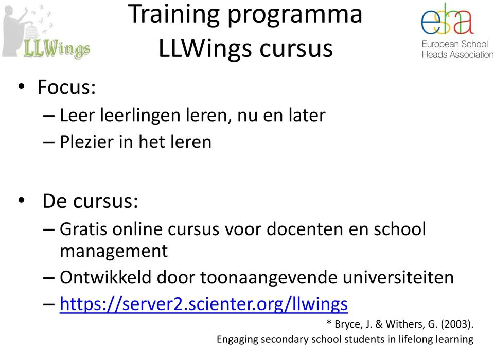Ontwikkeld door toonaangevende universiteiten https://server2.scienter.