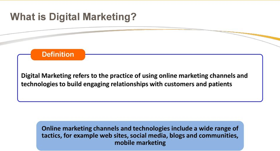 technologies to build engaging relationships with customers and patients Online marketing