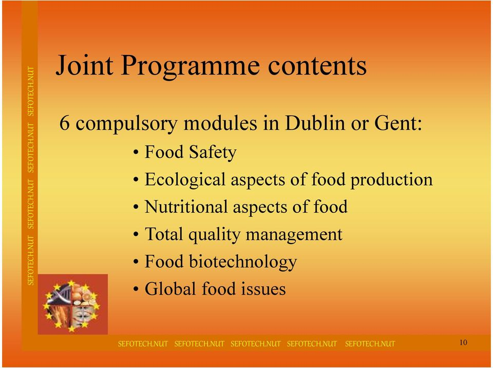 production Nutritional aspects of food Total quality