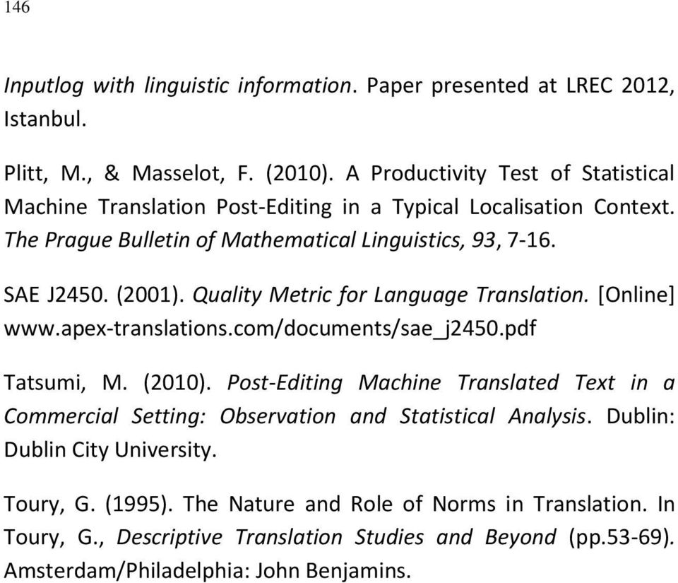 Quality Metric for Language Translation. [Online] www.apex-translations.com/documents/sae_j2450.pdf Tatsumi, M. (2010).