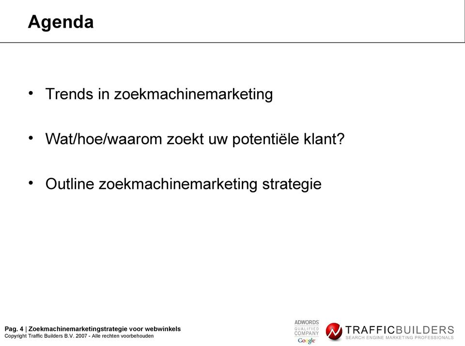 Outline zoekmachinemarketing strategie Pag.