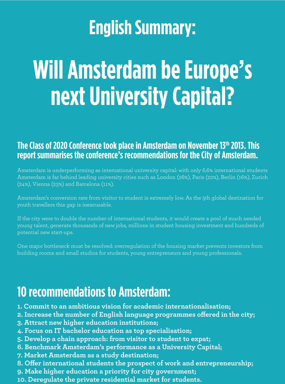 Amsterdam is underperforming as international university capital: with only 6,6% international students Amsterdam is far behind leading university cities such as London (26%), Paris (22%), Berlin