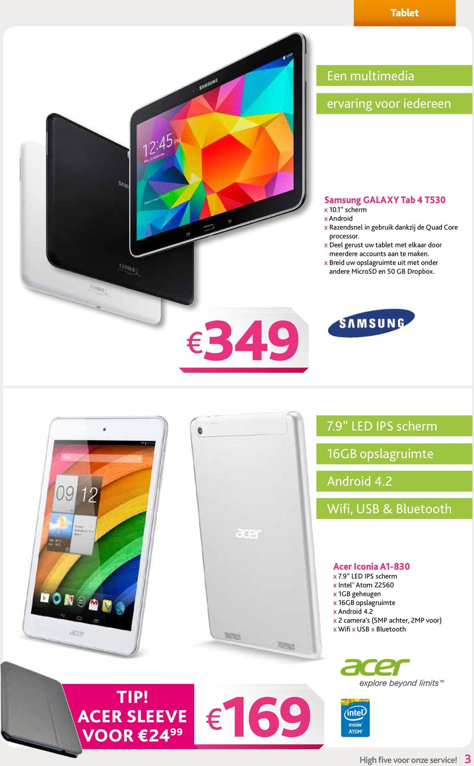 9 LED IPS scherm 16GB opslagruimte Android 4.2 Wifi, USB & Bluetooth Acer Iconia A1-830 x 7.