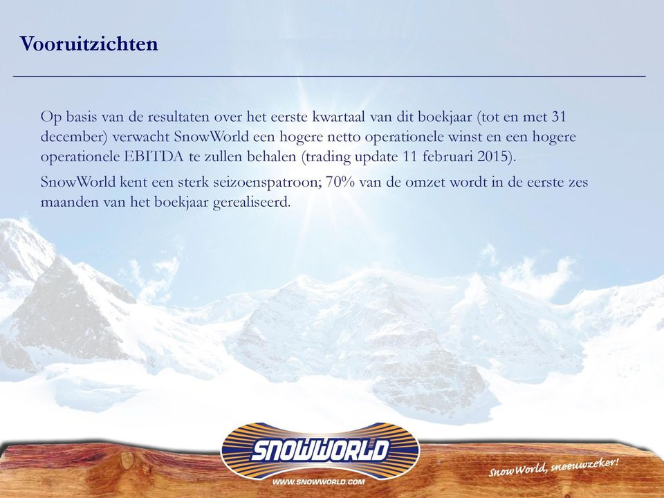 operationele EBITDA te zullen behalen (trading update 11 februari 2015).