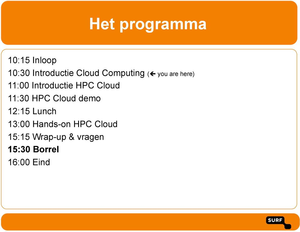 you are here) 11:00 Introductie HPC Cloud 11:30 HPC