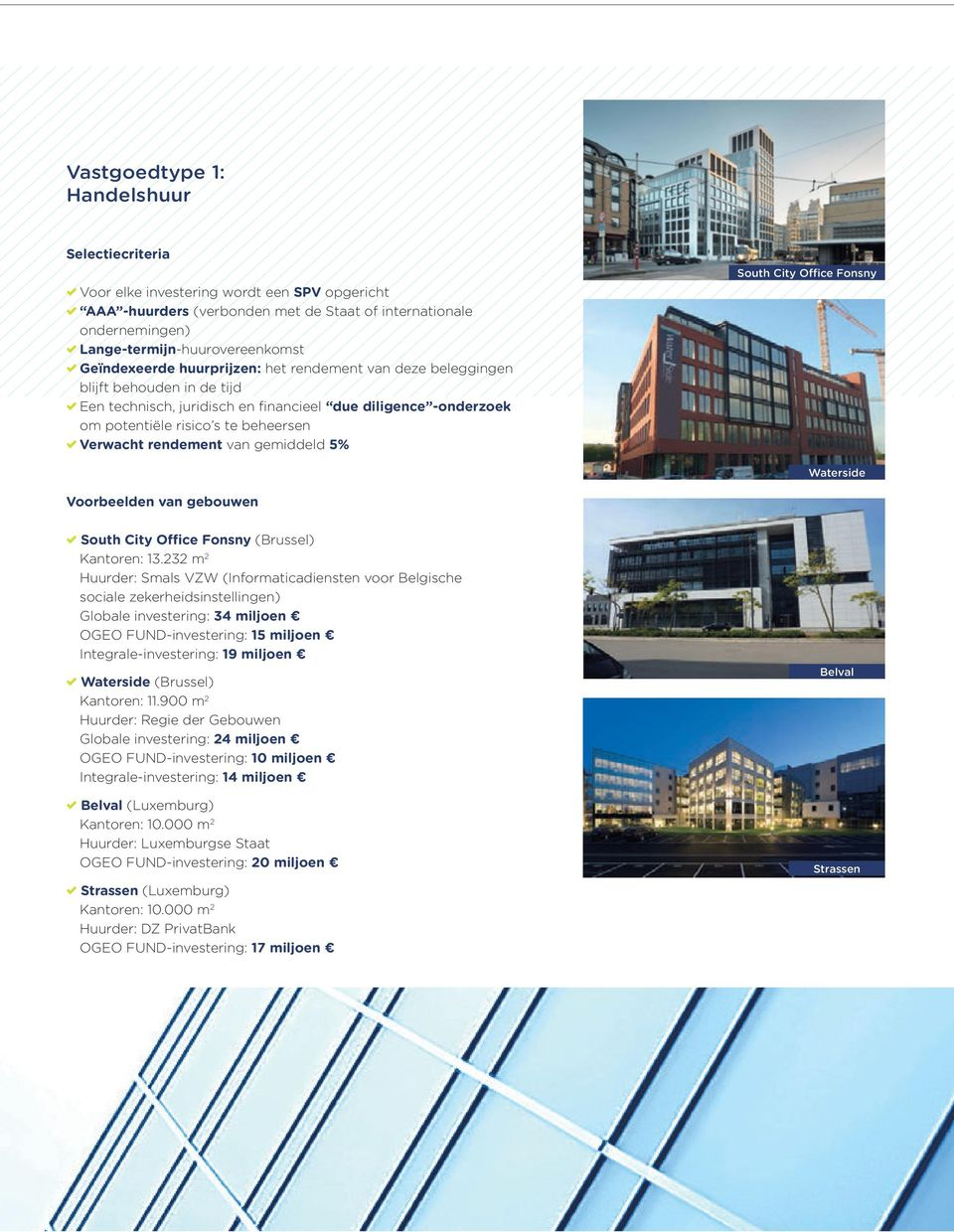 rendement van gemiddeld 5% South City Office Fonsny Waterside Voorbeelden van gebouwen South City Office Fonsny (Brussel) Kantoren: 13.