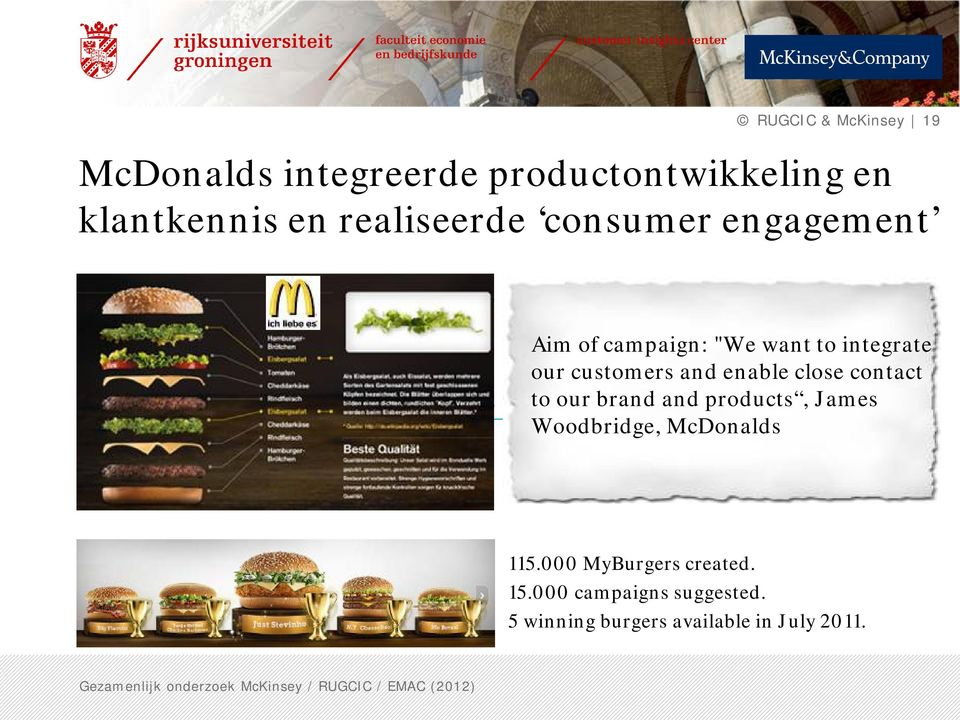 and enable close contact Results to our brand and products, James Woodbridge, McDonalds