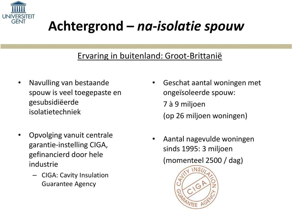 gefinancierd door hele industrie CIGA: Cavity Insulation Guarantee Agency Geschat aantal woningen met
