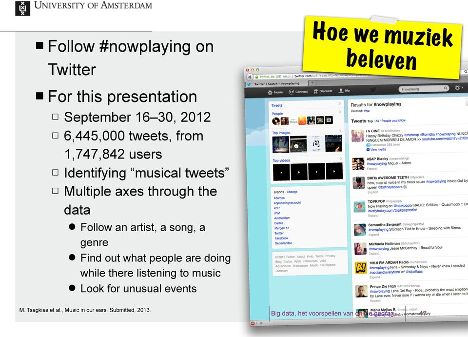 the data Follow an artist, a song, a genre Find out what people are doing while there
