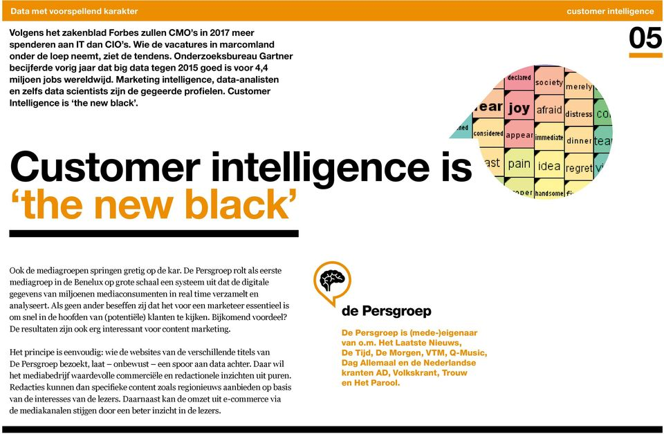 Marketing intelligence, data-analisten en zelfs data scientists zijn de gegeerde profielen. Customer Intelligence is the new black.