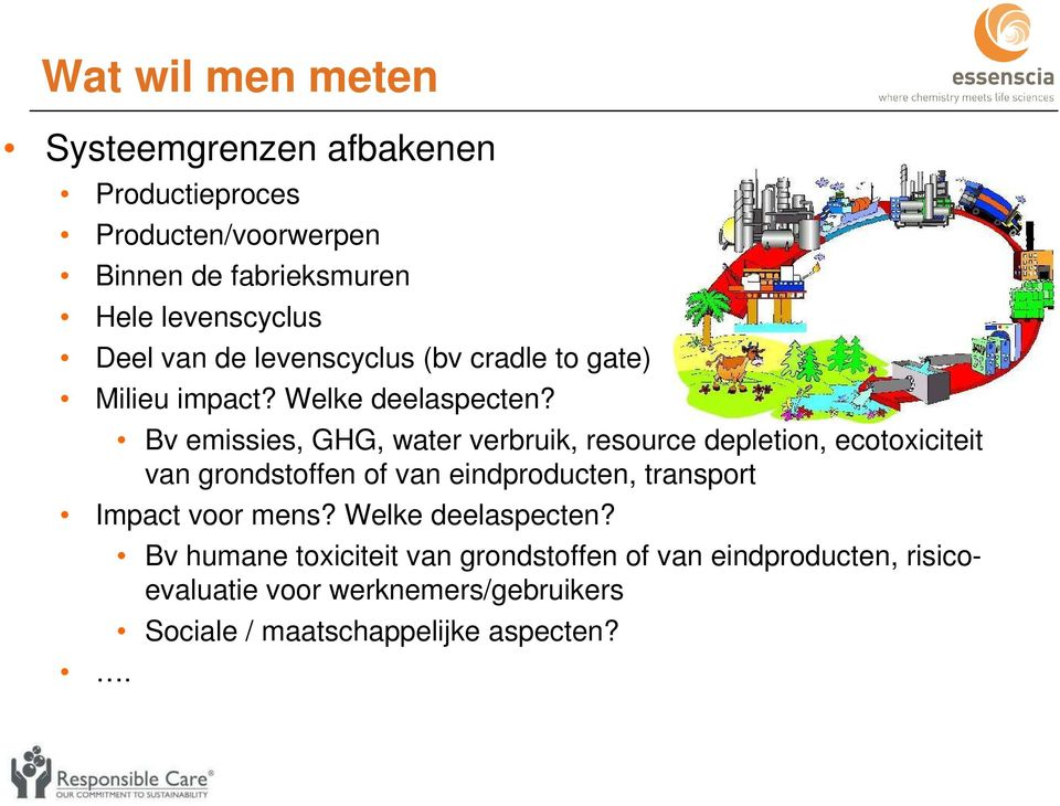 Bv emissies, GHG, water verbruik, resource depletion, ecotoxiciteit van grondstoffen of van eindproducten, transport Impact