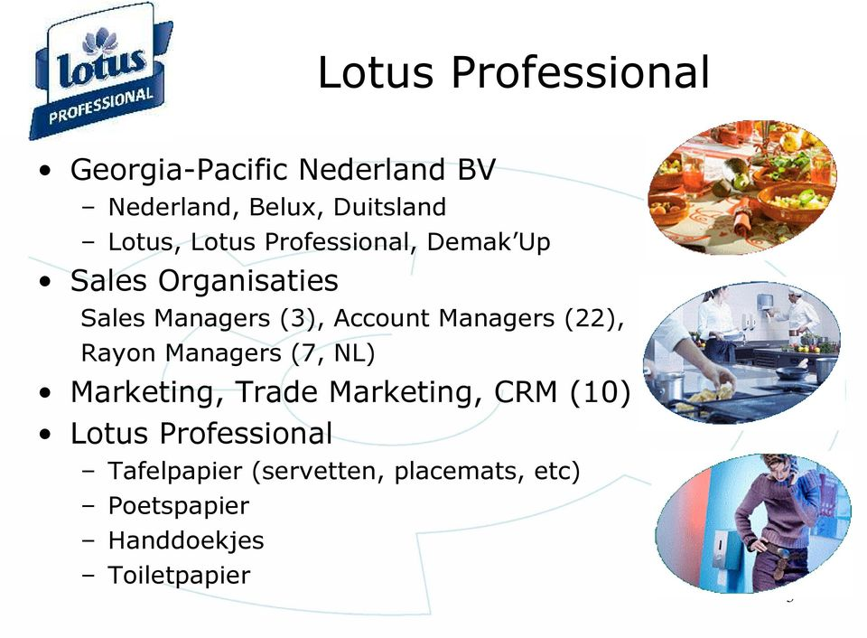 Managers (22), Rayon Managers (7, NL) Marketing, Trade Marketing, CRM (10) Lotus