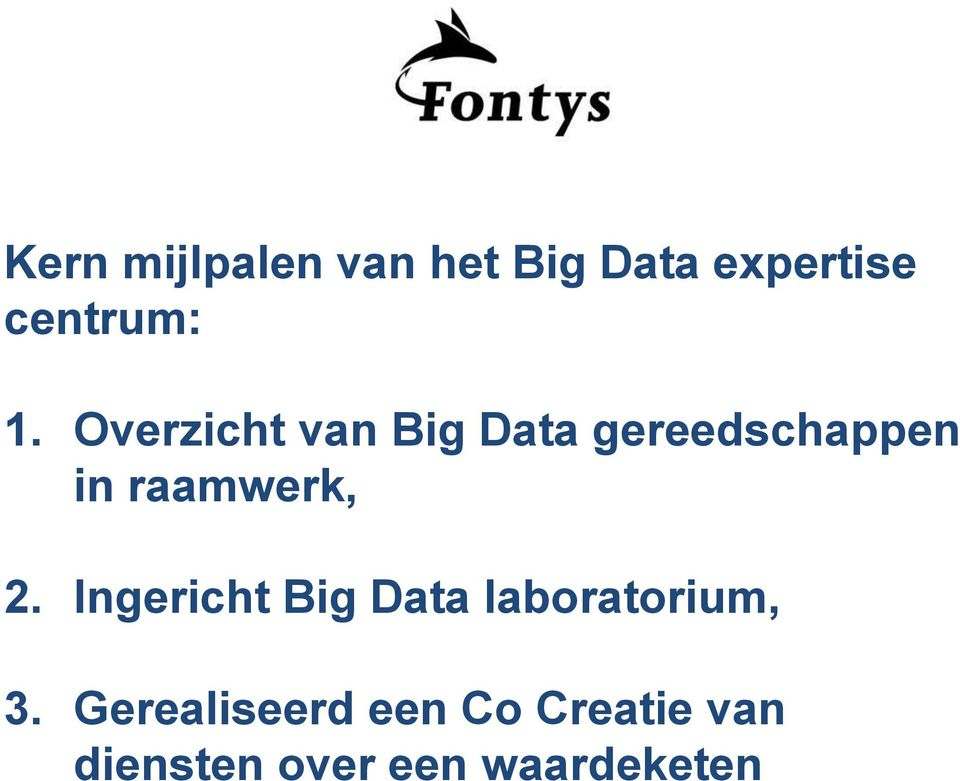 raamwerk, 2. Ingericht Big Data laboratorium, 3.