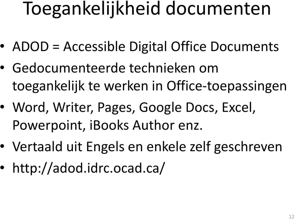 Office-toepassingen Word, Writer, Pages, Google Docs, Excel, Powerpoint,