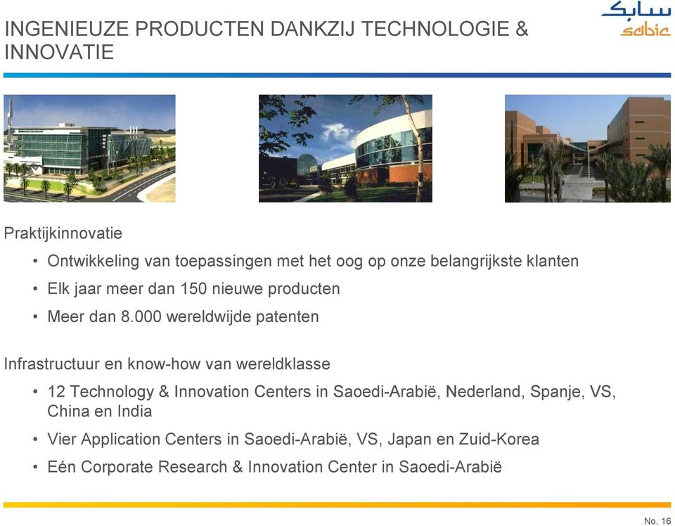 000 wereldwijde patenten Infrastructuur en know-how van wereldklasse 12 Technology & Innovation Centers in Saoedi-Arabië,