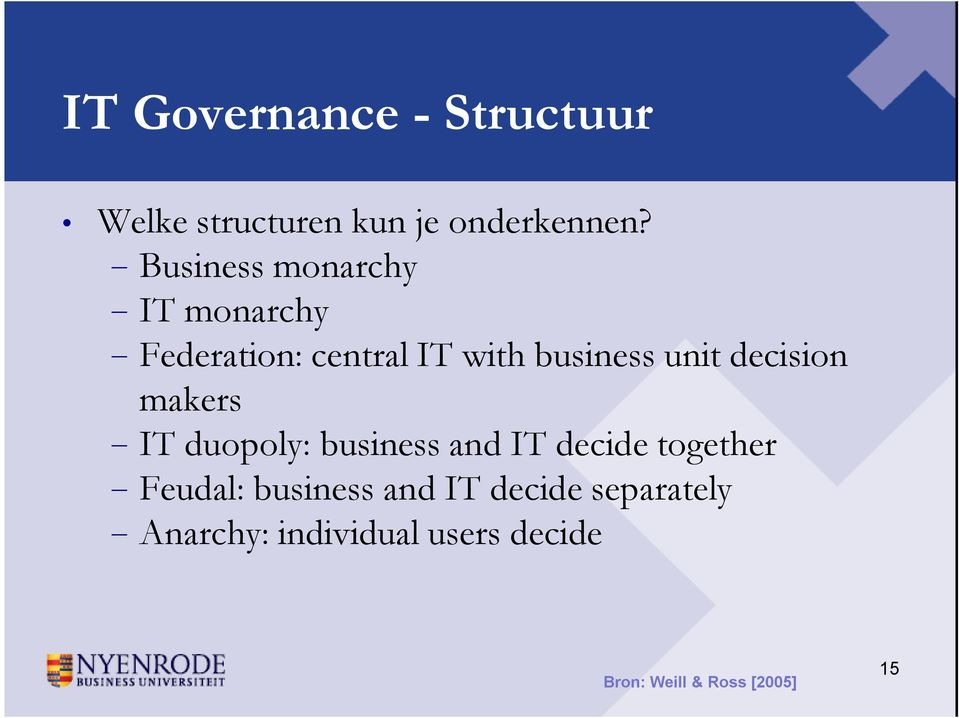 decision makers IT duopoly: business and IT decide together Feudal: