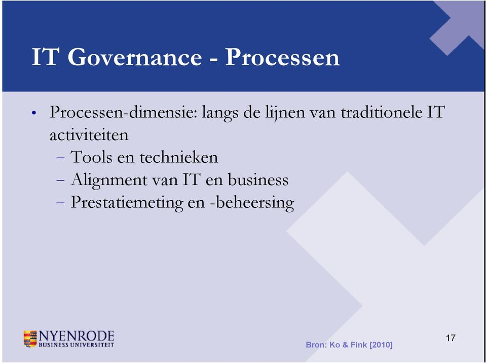 Tools en technieken Alignment van IT en business