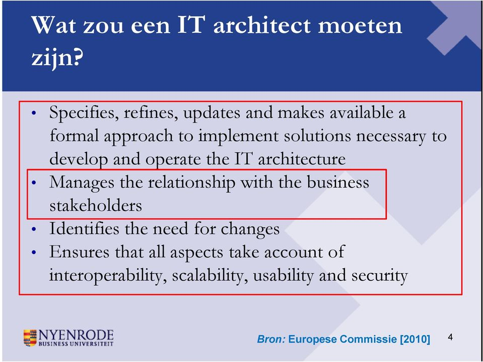 to develop and operate the IT architecture Manages the relationship with the business stakeholders